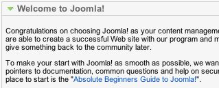 Remove Welcome to Joomla! Administrator Module